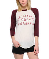 Obey Infamous Natural & Burgundy Vintage Baseball Tee Shirt