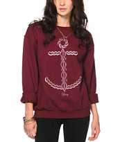 Obey Knit Anchor Maroon Crew Neck Sweatshirt