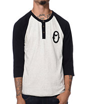 Obey Loaded Black Henley Baseball Tee Shirt