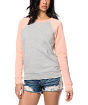 Obey Lofty Mountain Grey & Coral Crew Neck Sweatshirt