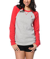 Obey Lofty Mountain Grey & Red Crew Neck Sweatshirt