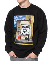 Obey London Icon Black Crew Neck Sweatshirt
