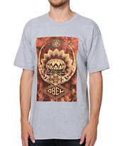 Obey Lotus Canvas Heather Grey Tee Shirt