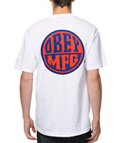 Obey MFG Badge White Pocket Tee Shirt