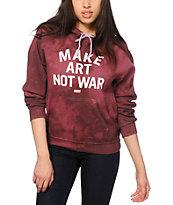 Obey Make Art Not War Block Font Burgundy Tie Dye Hoodie