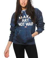 Obey Make Art Not War Block Font Indigo Tie Dye Hoodie