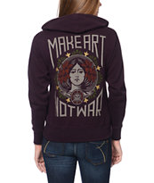 Obey Make Art Not War Color Blackberry Zip Up Hoodie