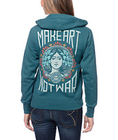 Obey Make Art Not War Color Dark Teal Zip Up Hoodie