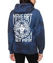Obey Make Art Not War Indigo Tie Dye Hoodie