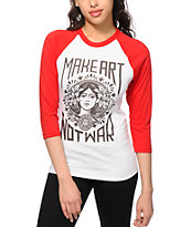 Obey Make Art Not War Red & White Baseball T-Shirt
