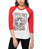 Obey Make Art Not War Red & White Baseball T-Shirt