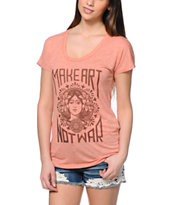 Obey Make Art Not War Red Mock Twist Tee Shirt