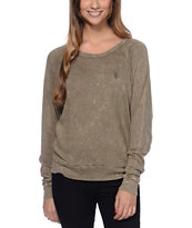 Obey Mental Dark Olive Long Sleeve Raglan Top