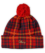 Obey Morton Red Plaid Pom Beanie