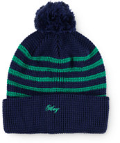 Obey Mulholland Navy & Green Stripe Beanie