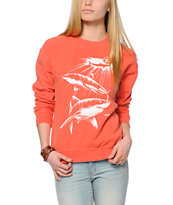 Obey Never Sleep Coral Throwback Crew Neck Sweatshirt