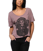 Obey New Kingdom Mauve Vintage Crop Tee Shirt