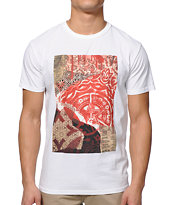 Obey Newspaper Collage White Tee Shirt