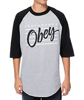 Obey Nine Nickel Heather Grey & Black Baseball Tee Shirt
