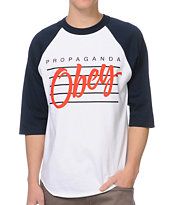 Obey Nine Nickel Navy & White Baseball Tee Shirt