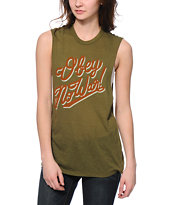 Obey No War Olive Muscle T-Shirt