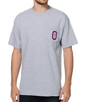 Obey O Monogram Heather Grey Pocket Tee Shirt