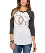 Obey OG Floral Natural & Charcoal Vintage Baseball Tee Shirt