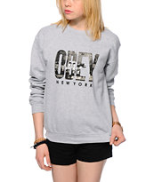 Obey OG NYC Grey Crew Neck Sweatshirt