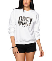 Obey OG NYC White Crew Neck Sweatshirt