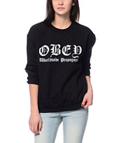 Obey Old Enlgish Black Throwback Crew Neck Sweatshirt