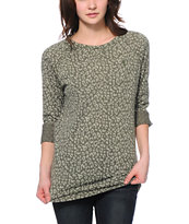 Obey Olive Leopard Print Echo Mountain Crew Neck Sweatshirt