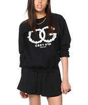 Obey On The Vine Black Crew Neck Sweatshirt