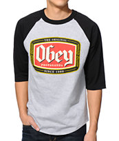Obey Original Lager Grey & Black Baseball Tee Shirt