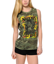 Obey Painted Make Art Not War Camo Print Moto Cut-Off Tank Top