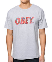 Obey Paisley Font Grey T-Shirt