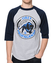 Obey Panther Militia Grey & Navy Baseball Tee Shirt