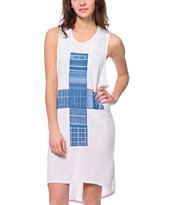 Obey Patchwork Pattern White Knit Tank Dress