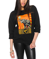 Obey Peace Elephant Black Crew Neck Sweatshirt