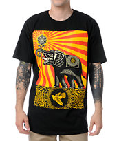Obey Peace Elephant Black Tee Shirt