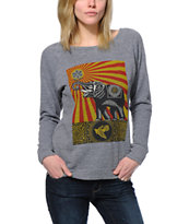 Obey Peace Elephant Grey Vandal Crew Neck Sweatshirt