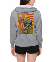 Obey Peace Elephant Grey Zip Up Hoodie