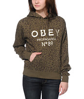 Obey Pearse Green Leopard Pullover Hoodie