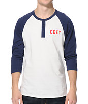 Obey Playoff White & Navy Henley Baseball Tee Shirt