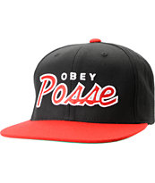 Obey Posse Black & Red Snapback Hat