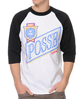 Obey Posse Light Black & White Baseball Tee Shirt