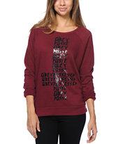 Obey Possessed Burgundy Vandal Crew Neck Sweatshirt