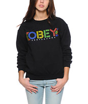 Obey Pret A Mourir Black Throwback Crew Neck Sweatshirt