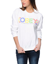 Obey Pret A Mourir White Throwback Crew Neck Sweatshirt
