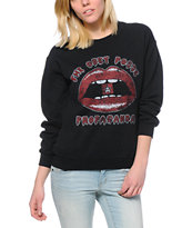 Obey Propaganda Lips Black Throwback Crew Neck Sweatshirt