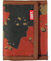 Obey Quality Dissent Woodland Camo Trifold Wallet